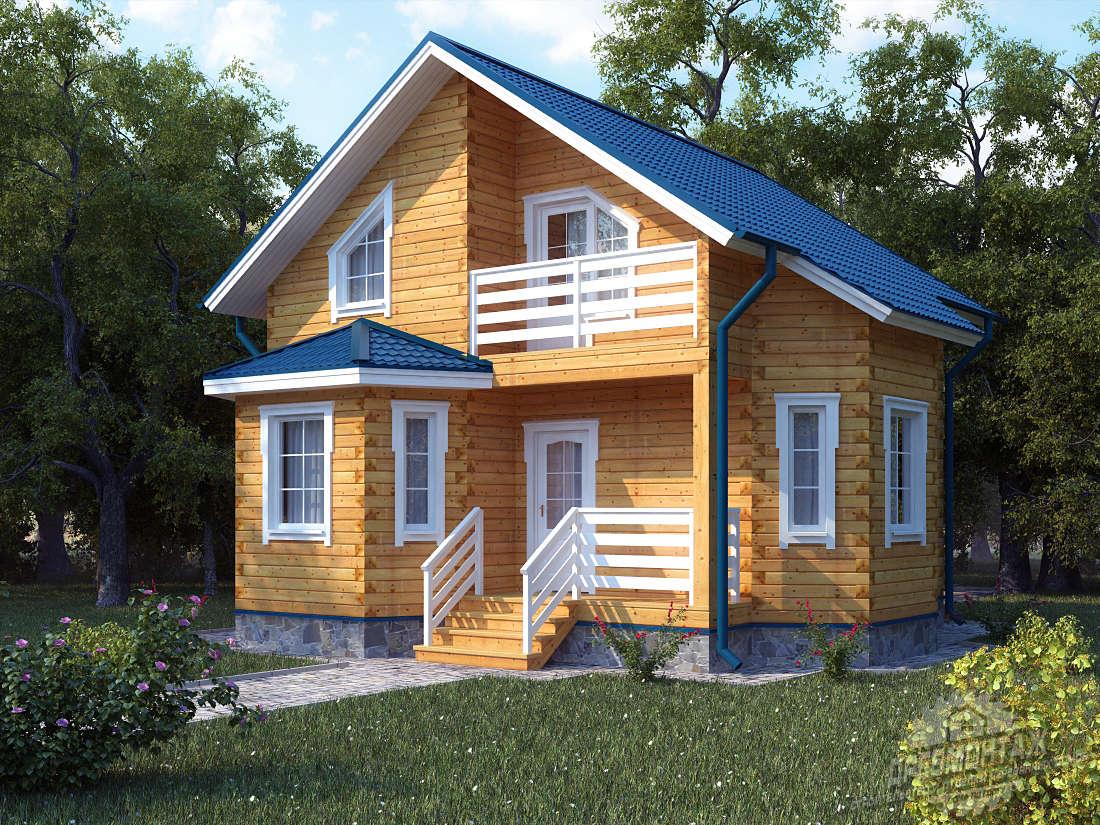 Проект дома из бруса 8х8″Ивановский»