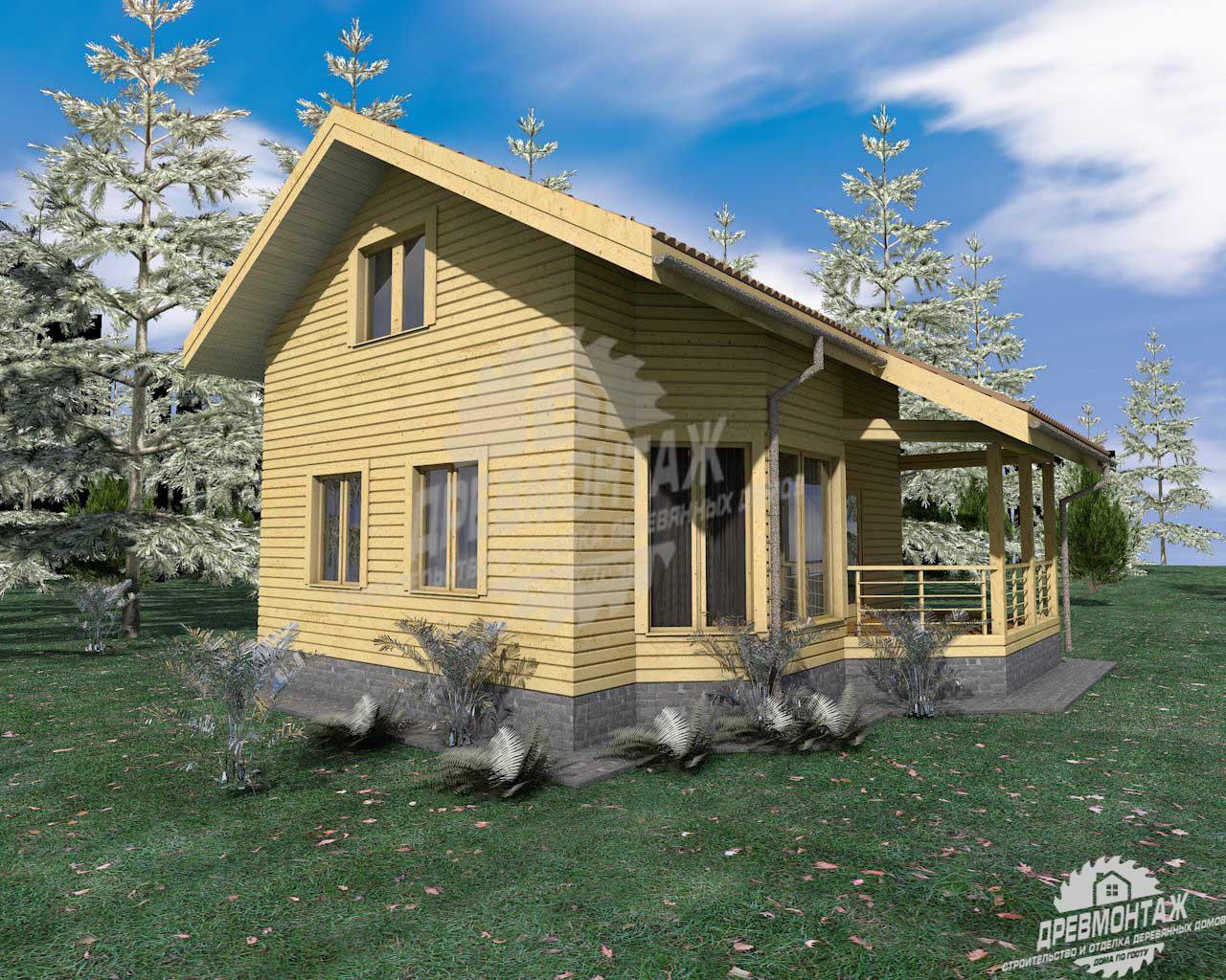 Проект дома из бруса 8х9″Костромской»