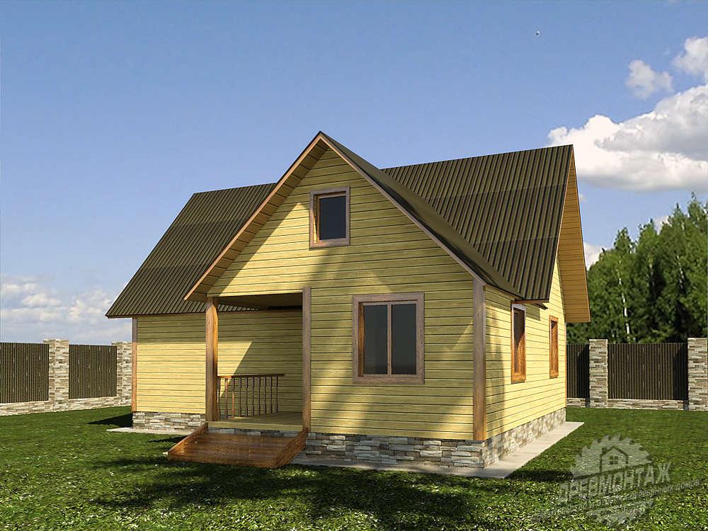 Проект дома из бруса 8,5х9″Южный»