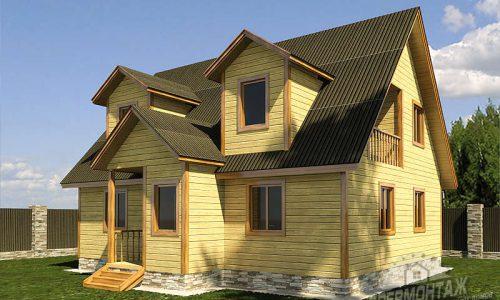 Проект дома из бруса 8х10″Крымский»