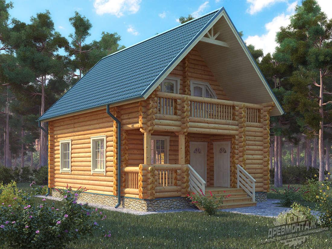 Проект дома из бревна 7х9,5″Загородный»