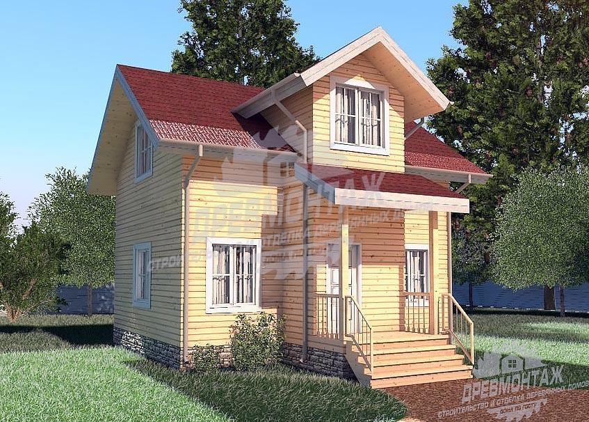 Проект дома из бруса 6,5х8″Кировский»