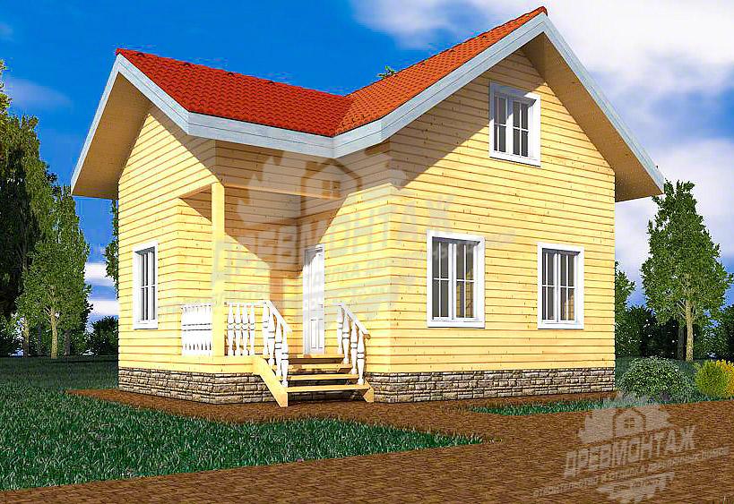 Проект дома из бруса 6х8,3″Народный»