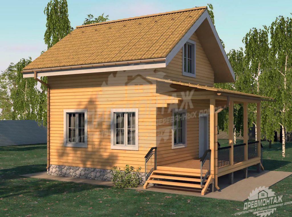 Проект дома из бруса 6х6 с верандой «Бронницы»